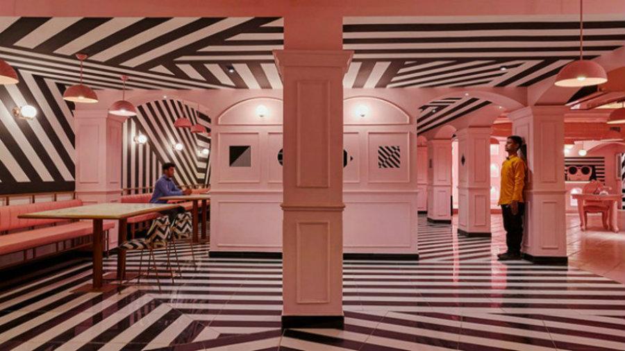 粉红斑马纹理餐厅设计